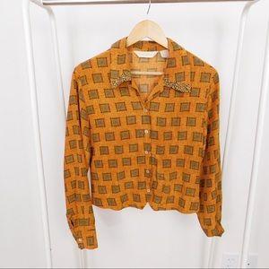 Vintage Patterned Silk Blouse